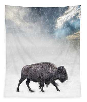 Snow Day Buffalo Tapestry