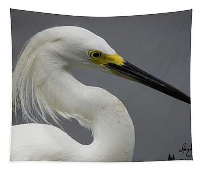 Snow Egret Portrait Tapestry