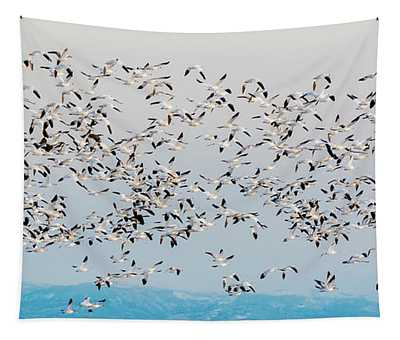 Snow Geese And Canada Geese Tapestry