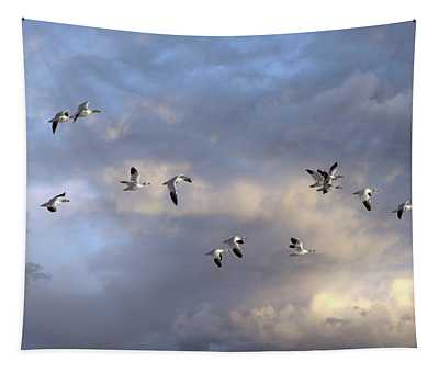 Snow Geese In Flight Tapestry