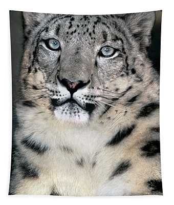 Snow Leopard Portrait Endangered Species Wildlife Rescue Tapestry
