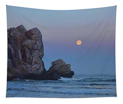 Snow Moon And Morro Rock Tapestry