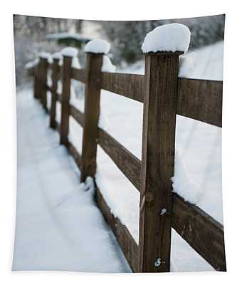 Snow Topped Fence  Tapestry