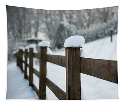 Snow Topped Fence II Tapestry
