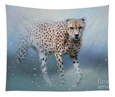Snowbound Cheetah Tapestry