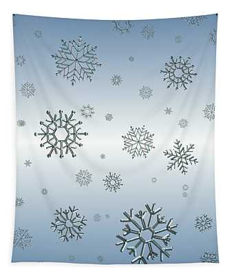Snowflakes On Blue Tapestry