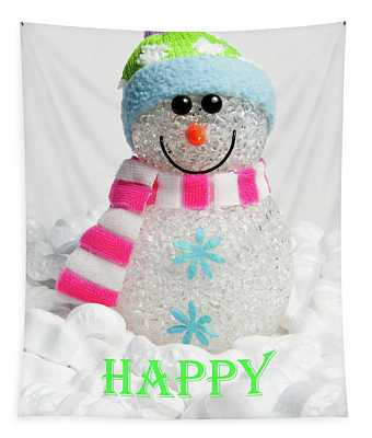 Snowman - Happy Christmas Tapestry
