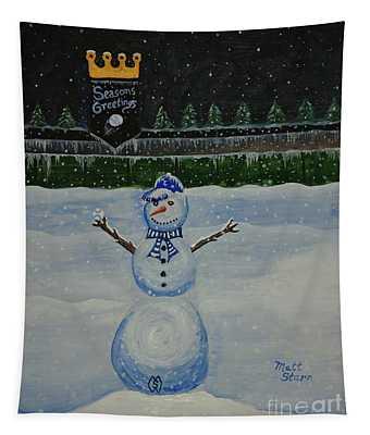 Snowman On The Hill At The K Tapestry