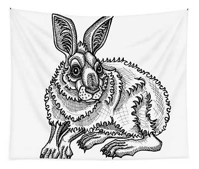 Tapestry featuring the drawing Snowshoe Hare by Amy E Fraser