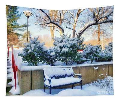 Snowy Bench Tapestry