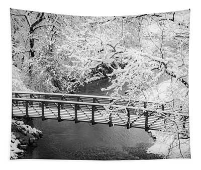 Snowy Bridge On Mill Creek Tapestry