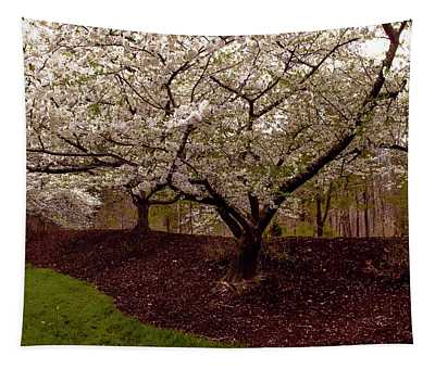 Snowy Cherry Blossoms Tapestry