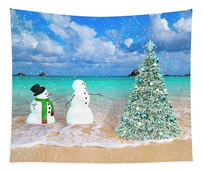 Snowy Couple On Christmas Tree Beach Tapestry