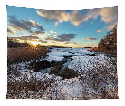 Snowy Day At Mill Creek Yarmouth Port Massachusetts Tapestry
