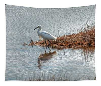 Snowy Egret Hunting A Salt Marsh Tapestry