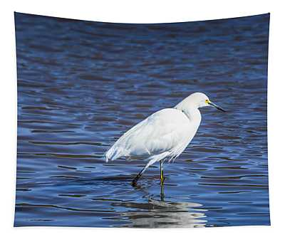 Snowy Egret - Malibu Lagoon State Beach Tapestry