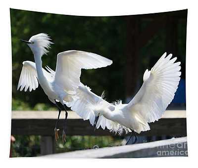 Snowy Egrets Drama Tapestry