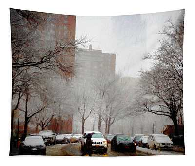 Snowy Street Scene Tapestry