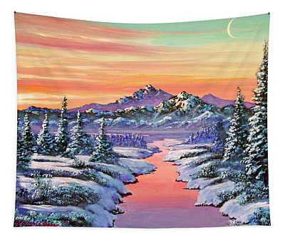 Snowy Winter River Tapestry