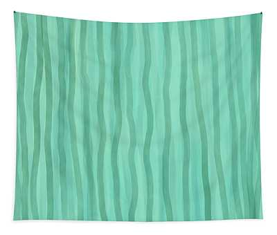 Soft Green Lines Tapestry