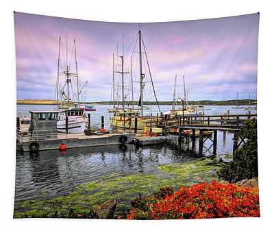 South Bay Working Dock Morro Bay California Tapestry