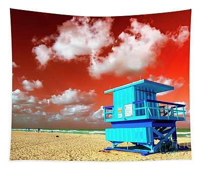 South Beach Lifeguard Chair Colors Pop Art Tapestry
