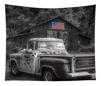 Southern Vintage Black And White With Color Selected Flag Tapestry