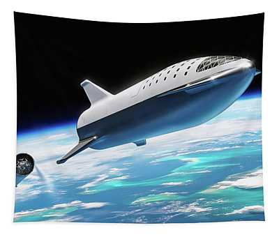 Tapestry featuring the digital art Spacex Bfr Big Falcon Rocket With Earth by Pic by SpaceX Edit by M Hauser