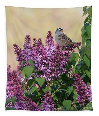 Sparrow In The Lilacs Tapestry