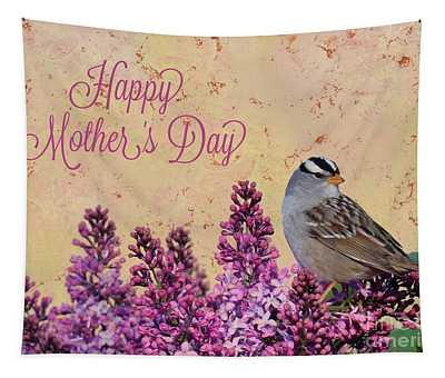 Sparrow In The Lilacs Mother's Day Card Tapestry