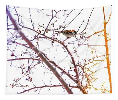 Sparrow On Crabapple Branch Tapestry