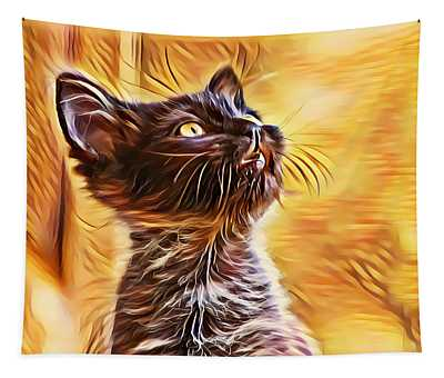 Special Long Neck Kitty Tapestry