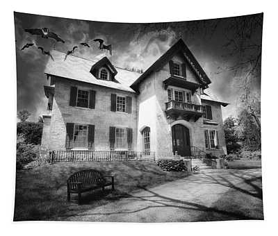 Spooky Mansion In Black And White Tapestry