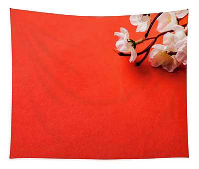 Spring Blossom Border Over Red Background With Copyspace. Chines Tapestry