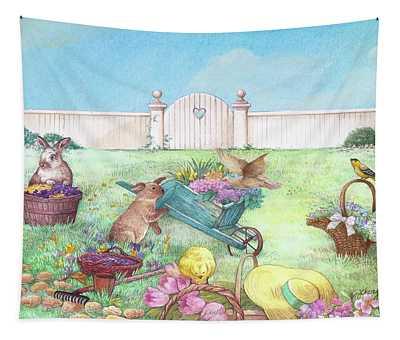 Spring Bunnies, Chick, Birds Tapestry