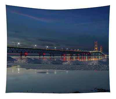 Spring Evening At The Mackinac Bridge Tapestry