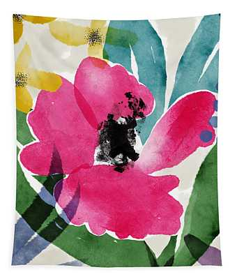 Spring Garden Pink- Floral Art By Linda Woods Tapestry
