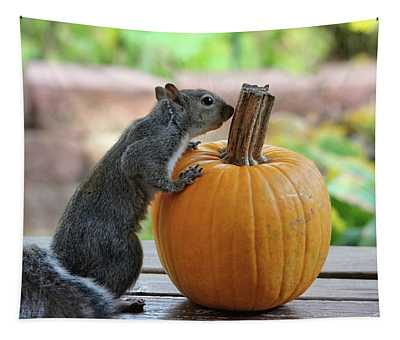 Squirrel And Pumpkin Tapestry
