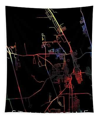 St Augustine Florida Watercolor City Street Map Dark Mode Tapestry