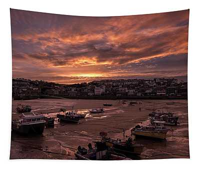 St Ives Cornwall - Harbour Sunset Tapestry