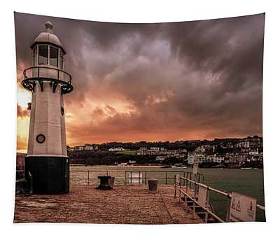 St Ives Cornwall - Lighthouse Sunset Tapestry