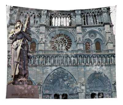 St Joan Of Arc Watch Over Notre Dame Tapestry