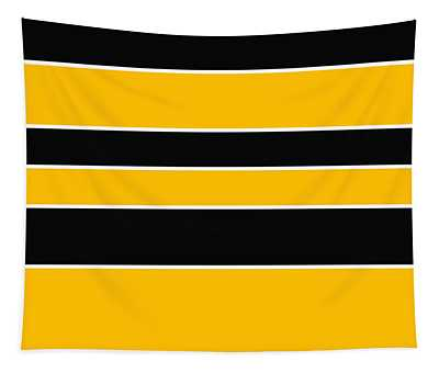 Stacked - Black And Yellow Tapestry
