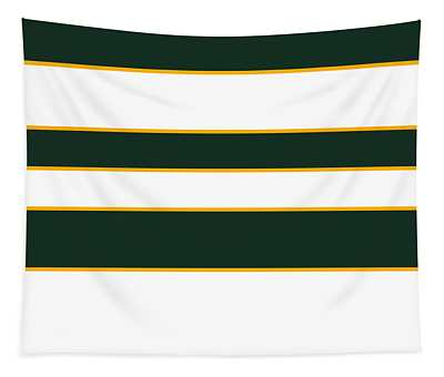 Stacked - Green, White And Yellow Tapestry