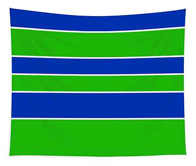 Stacked - Navy, White, And Lime Green Tapestry