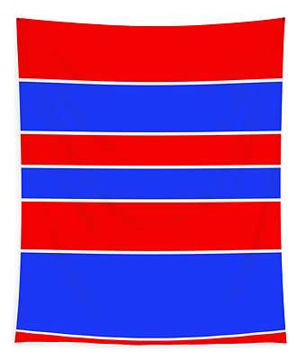 Stacked - Red, White And Blue Tapestry
