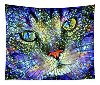 Stained Glass Cat Art Tapestry
