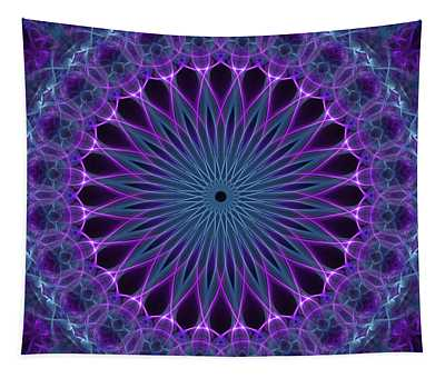 Star Mandala In Pink, Blue And Green Tones Tapestry