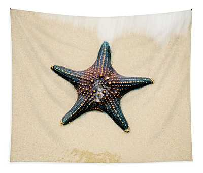Starfish On The Beach Sand. Close Up. Tapestry