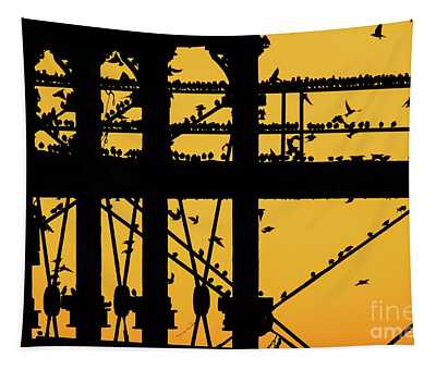 Starlings At Golden Hour On Aberystwyth Pier Tapestry